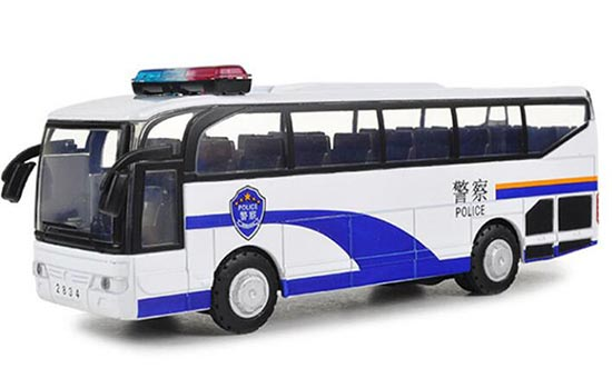 Blue-White Kids Pull-Back Function Die-Cast Police Bus Toy