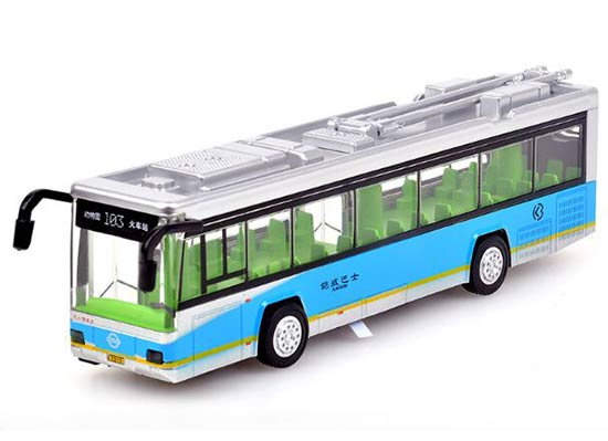 Red / Blue / Green 1:32 Scale Kids Die-Cast Trolley Bus Toy