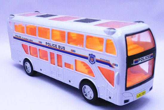 Kids White Police Theme Plastics Double Decker Bus Toy