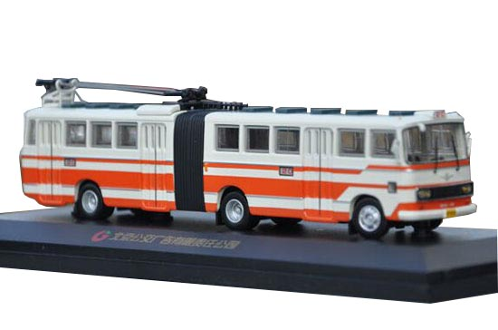 White-Orange 1:76 Diecast BeiJing SK561G Articulated Trolley Bus