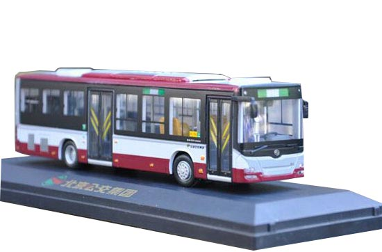 Gray-Red 1:64 Scale Die-Cast HuangHai Beijing City Bus Model