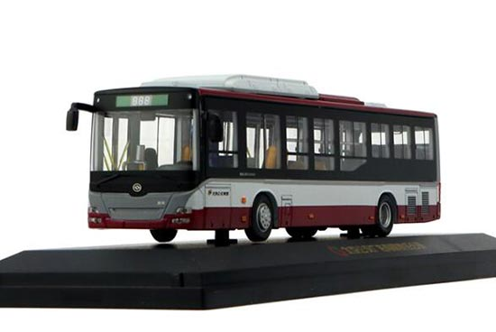 1:64 Scale Gray-Red Die-Cast HuangHai Beijing City Bus Model