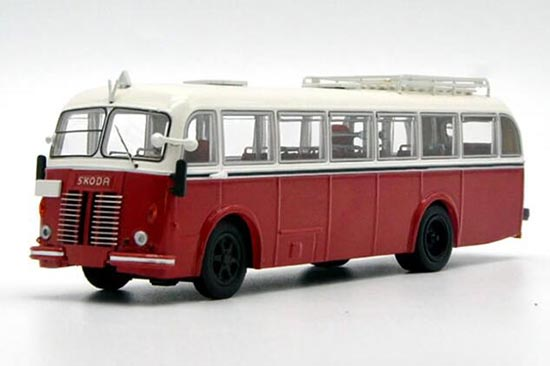 White-Red 1:64 Scale Die-Cast Skoda Bus Model