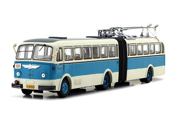 White-Blue 1:64 BK560 Die-Cast Articulated Trolley Bus Model