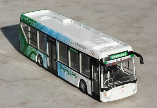 White-Green 1:64 Scale Die-Cast 2008 BeiJing Olympic City Bus