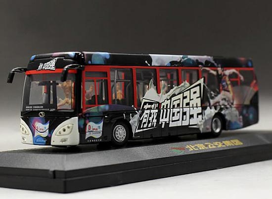 Black 1:64 Yili Milk Ad Die-Cast 2008 BeiJing Olympic Bus Model