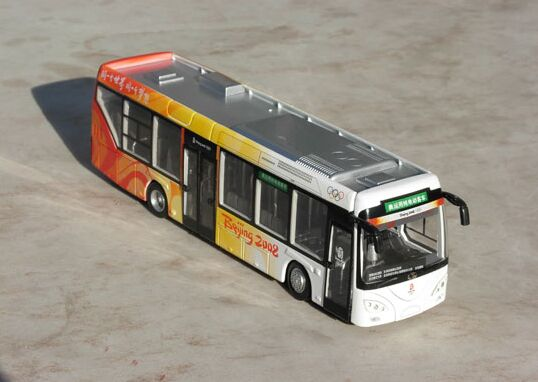 Red-Yellow 1:64 Scale Die-Cast 2008 BeiJing Olympic Bus Model