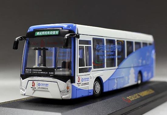 1:64 Scale Blue-White Die-Cast 2008 BeiJing Olympic Bus Model