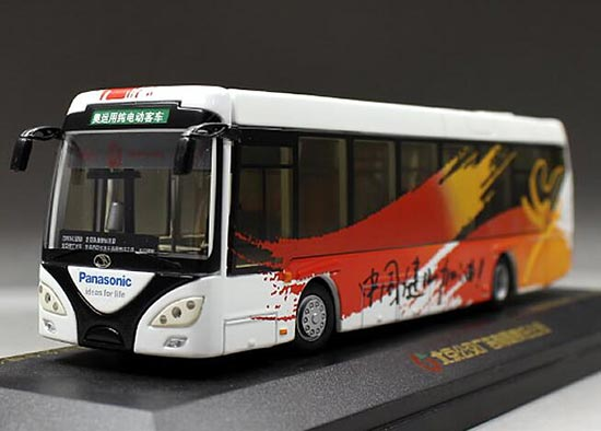 White-Orange 1:64 Scale Die-Cast 2008 BeiJing Olympic Bus Model