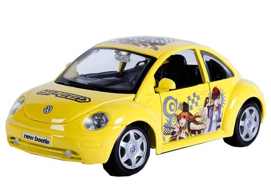 Yellow 1:24 Scale MaiSto Diecast VW New Beetle Model