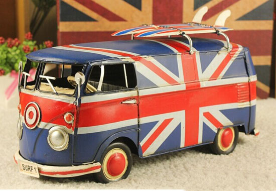 Tinplate Red-Blue Union Flag Pattern Vintage VW Bus Model