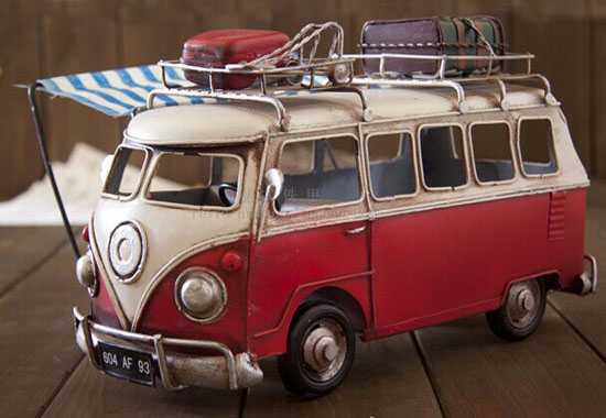 Blue / Red Medium Scale Tinplate VW Motor Homes Bus Model