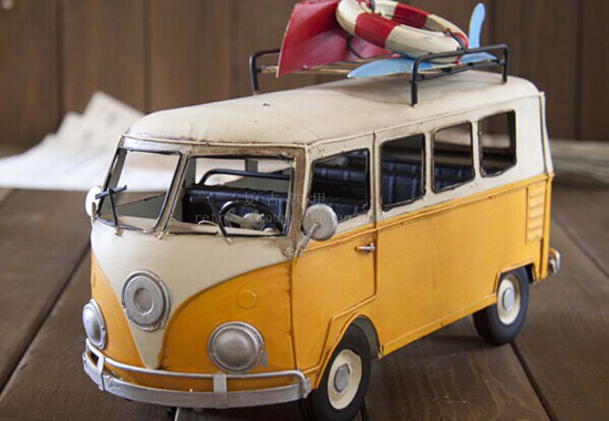 Vintage Blue / Yellow Medium Scale Tinplate VW Bus Model