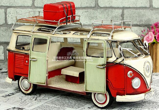 Vintage Blue / Red Handmade Medium Scale Tinplate VW Bus Model