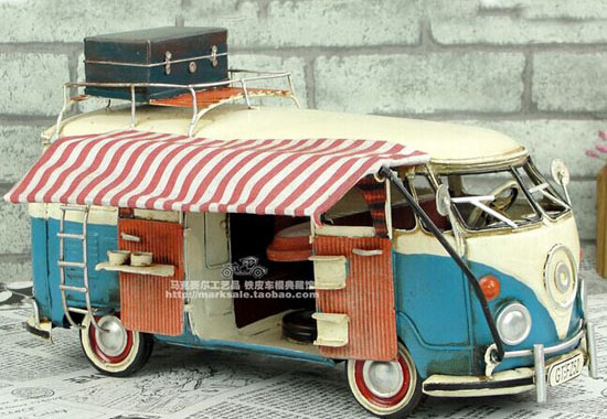 Blue / Red Medium Scale Vintage VW Motor Homes Bus Model