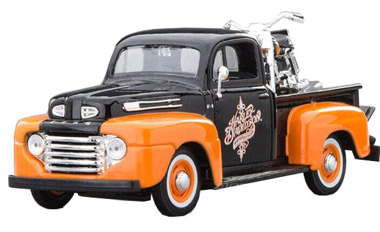 MaiSto Black-Orange 1:24 Scale Die-Cast Ford F1 Pickup Model