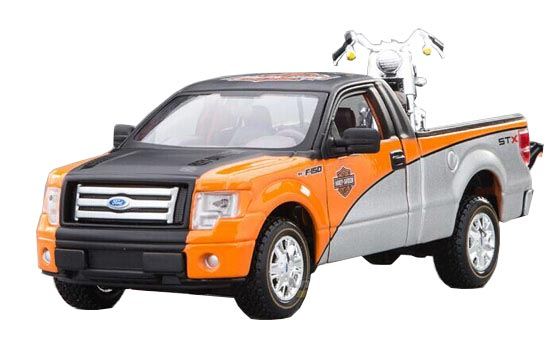 1:24 Scale MaiSto Silver-Orange Die-Cast Ford F150 Pickup Model
