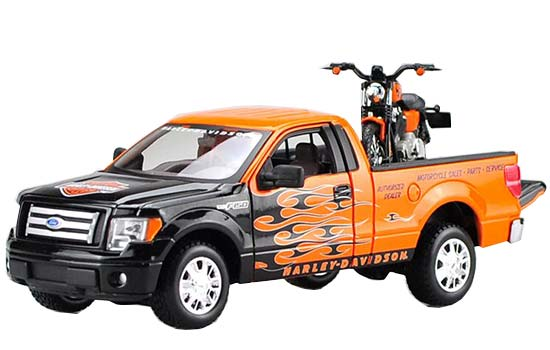 1:24 Scale Black-Orange MaiSto Die-Cast Ford F150 Pickup Model