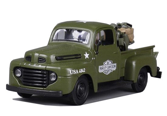 Army Green MaiSto 1:24 Scale Die-Cast Ford F1 Pickup Truck Model