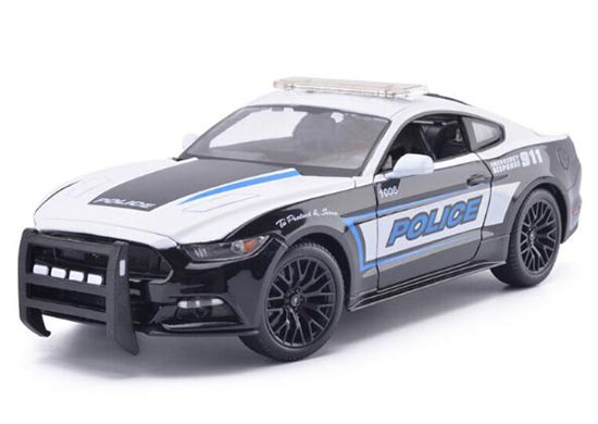 1:18 Scale Black-White Police Diecast 2015 Ford Mustang GT Model
