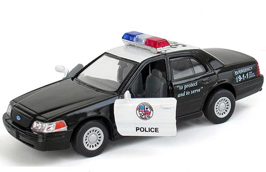 Kids Black / White Police Theme Diecast Ford Crown Victoria Toy