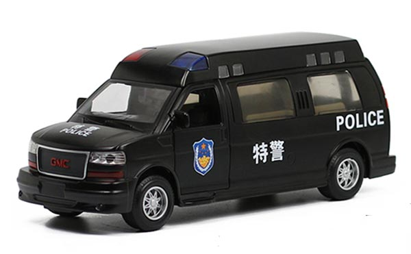 Kids Black 1:32 Scale Pull-Back Function Police Diecast GMC Toy