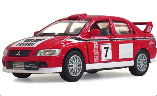 1:36 Scale Kids NO.7 WRC Red Diecast Mitsubishi Lancer Toy