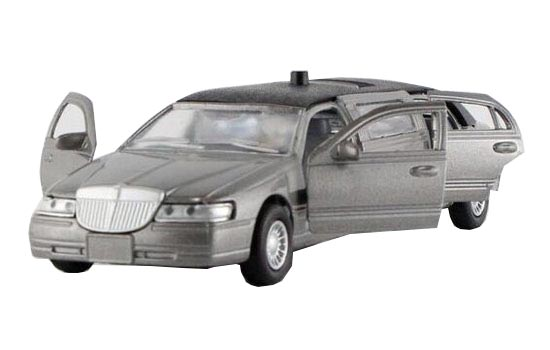 Kids 1:38 Black / White / Gray Diecast Lincoln Limousine Toy