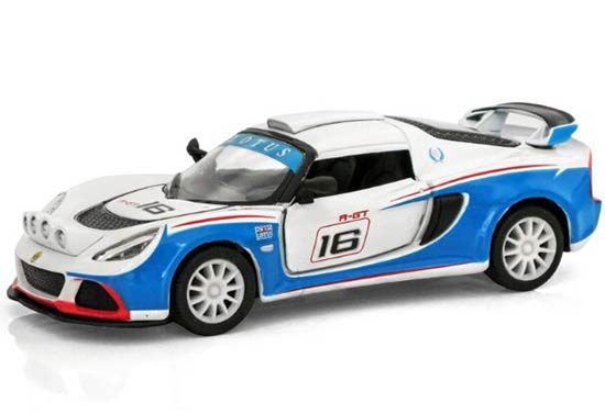 Kids 1:36 Scale White-Blue Die-Cast Lotus Exige R-GT Toy