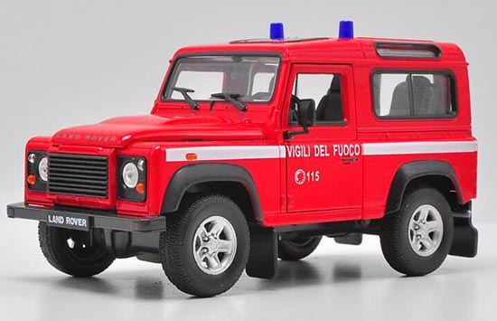 1:24 Scale Red Welly Diecast Land Rover Defender Model