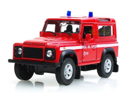 Red / White 1:36 Scale Welly Diecast Land Rover Defender Toy