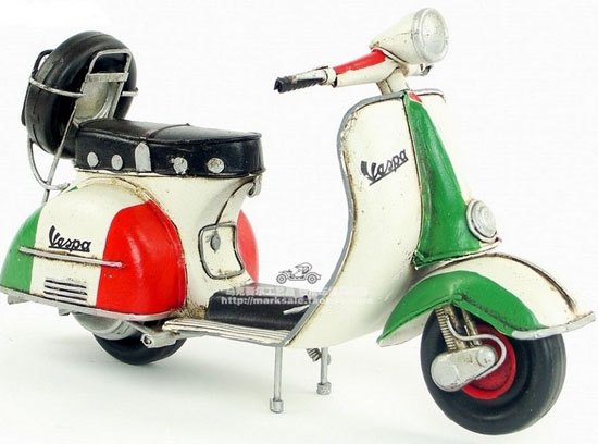 Medium Scale Tinplate White-Red-Blue Vintage Vespa Scooter Model