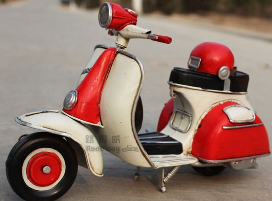 White-Red Tinplate Medium Scale Vintage Vespa Scooter Model