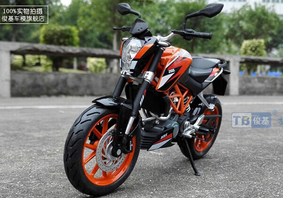Orange black 112 scale diecast ktm duke 200 motorcycle