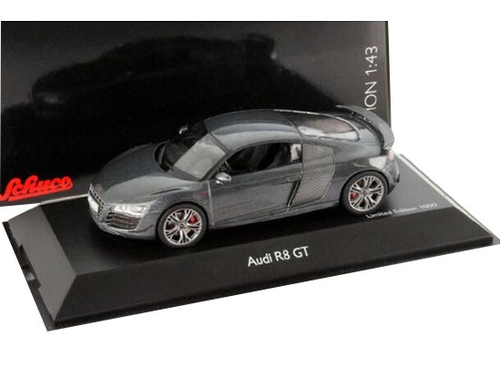 Gray 1:43 Scale SCHUCO Diecast Audi R8 GT Model