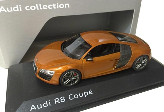 Orange 1:43 Scale Diecast Audi R8 Coupe Model