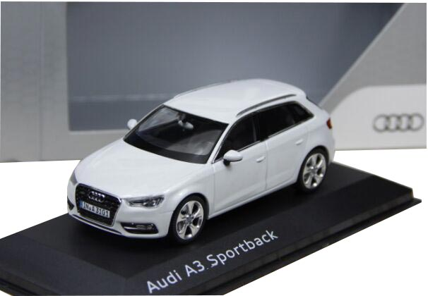 Black / White / Red 1:43 Scale Diecast Audi A3 Sportback Model