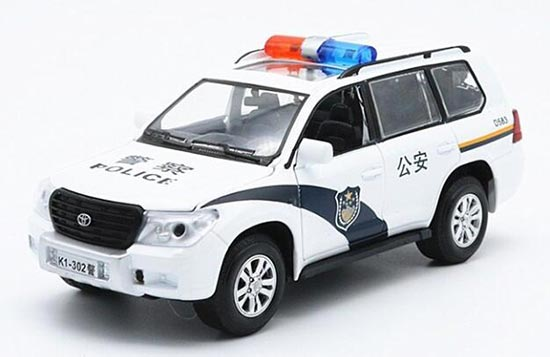 Kids 1:32 Scale White Police Theme Diecast Toyota Land Cruiser