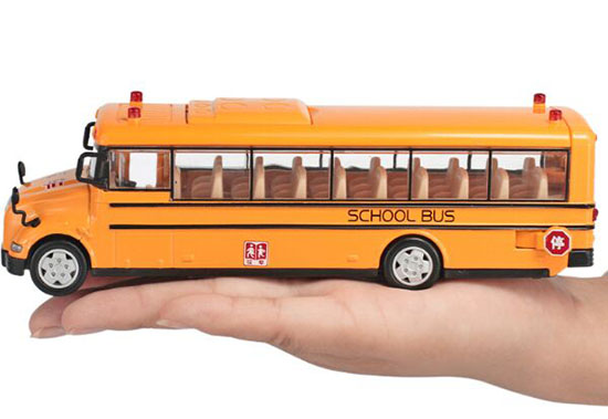 Kids Yellow 1:55 Scale Pull-Back Function Diecast School Bus Toy