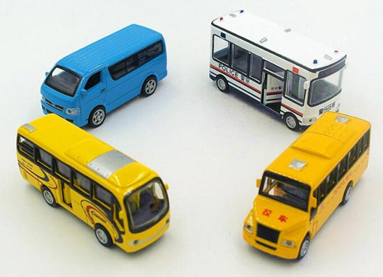 Mini Scale Kids Pull-Back Function Four Bus Toys Set