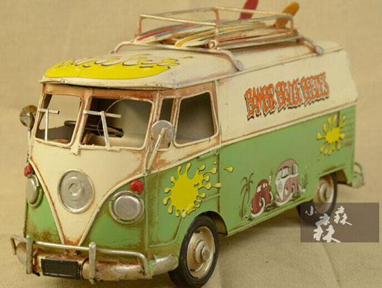 Red / Green Tinplate Medium Scale Vintage VW Bus Model