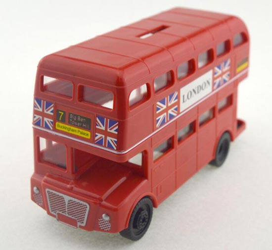 red plastics saving box london double decker bus toy. Black Bedroom Furniture Sets. Home Design Ideas