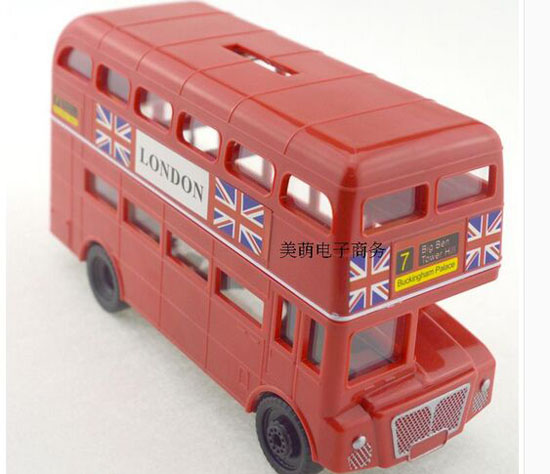 Red Plastics Saving Box London Double Decker Bus Toy