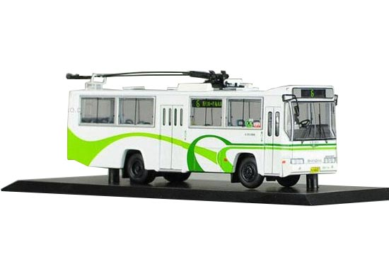 1:76 Scale White NO.6 Die-Cast Shanghai Trolley Bus Model