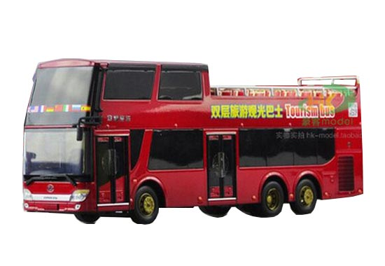 Red 1:43 Scale Die-Cast AnKai Double Decker Tour Bus Model