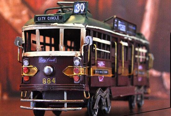 Large Scale Brown Vintage Tinplate Europe Tram Model