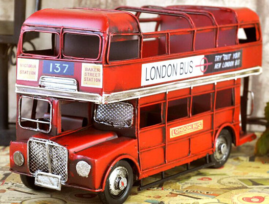 Red Medium Scale Tinplate NO.137 London Double Decker Bus Model