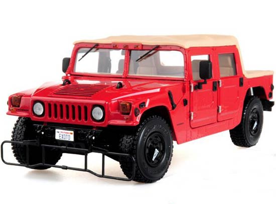 Red 1:18 Scale EXOTO Diecast Hummer H1 Model