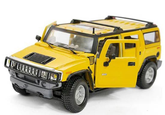 Yellow / Blue 1:27 Scale Maisto Diecast 2003 Hummer H2 Model