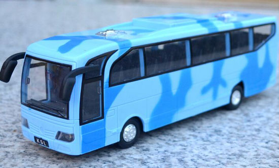 Kids Blue / Gray / Army Green Plastic Camouflage Tour Bus Toy